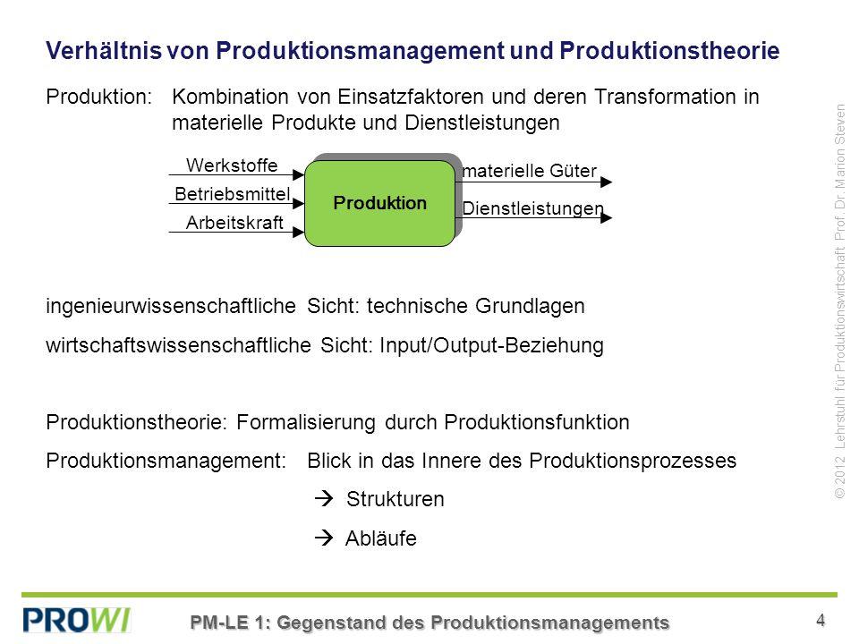 Verhältnis von Produktionsmanagement und Produktionstheorie