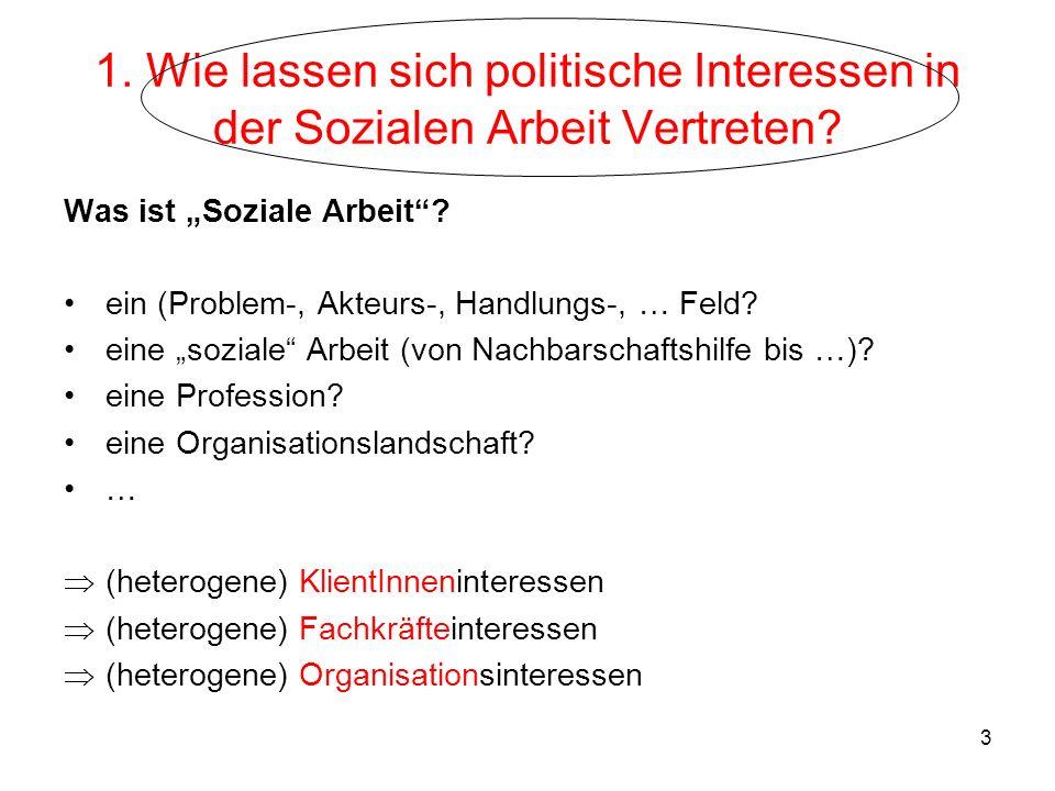 1. Wie lassen sich politische Interessen in der Sozialen Arbeit Vertreten