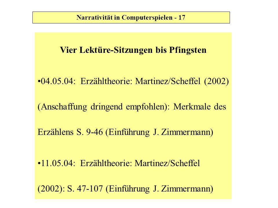 Vier Lektüre-Sitzungen bis Pfingsten