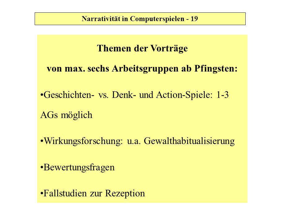 Themen der Vorträge von max. sechs Arbeitsgruppen ab Pfingsten: