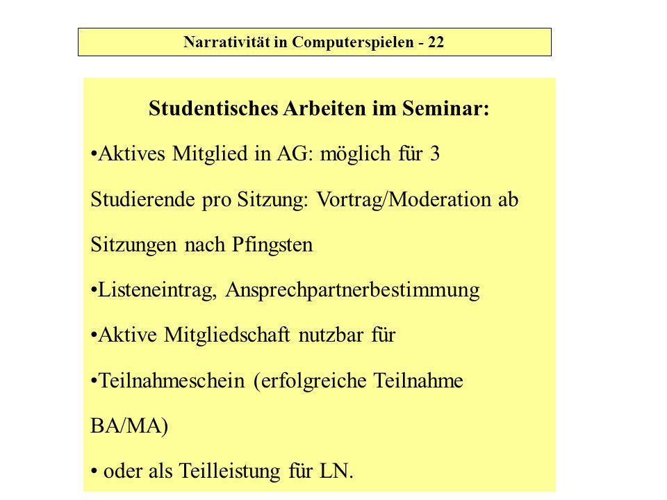 Studentisches Arbeiten im Seminar: