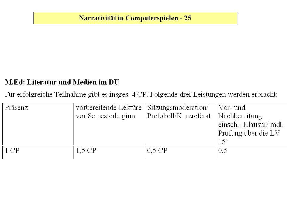 Narrativität in Computerspielen - 25