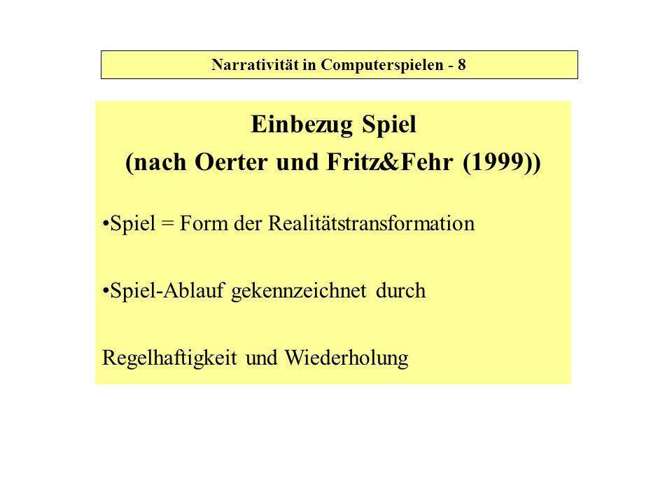 Einbezug Spiel (nach Oerter und Fritz&Fehr (1999))