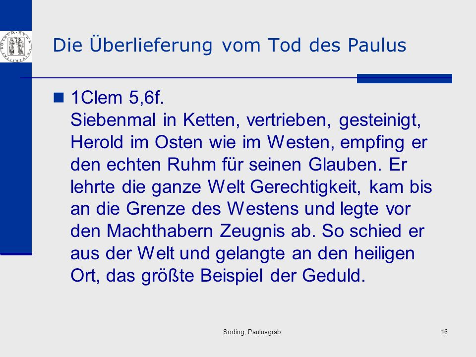 Die Überlieferung vom Tod des Paulus