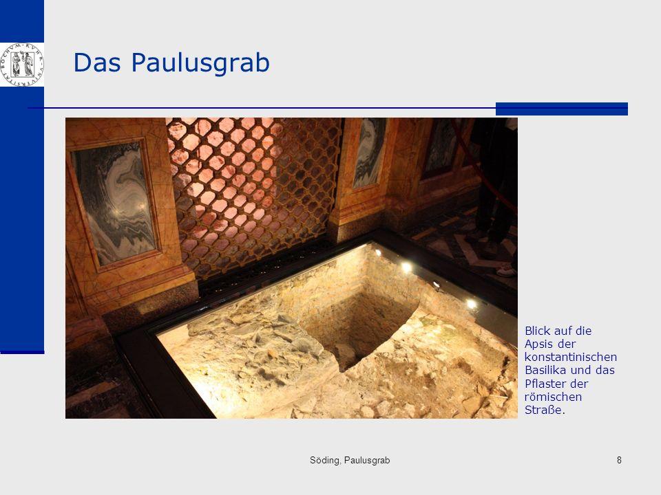 Das Paulusgrab Blick auf die Apsis der konstantinischen Basilika und das Pflaster der römischen Straße.