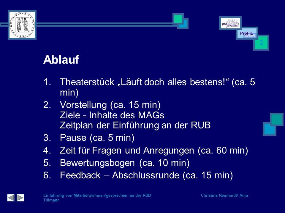 """Ablauf Theaterstück """"Läuft doch alles bestens! (ca. 5 min)"""