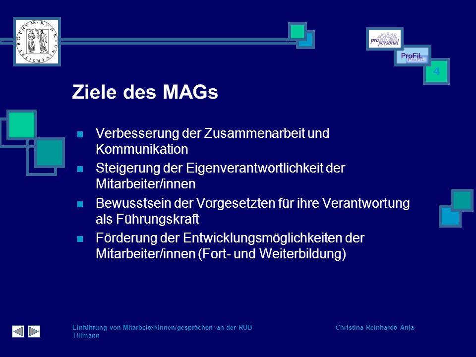 Ziele des MAGs Verbesserung der Zusammenarbeit und Kommunikation