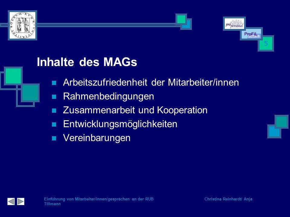 Inhalte des MAGs Arbeitszufriedenheit der Mitarbeiter/innen