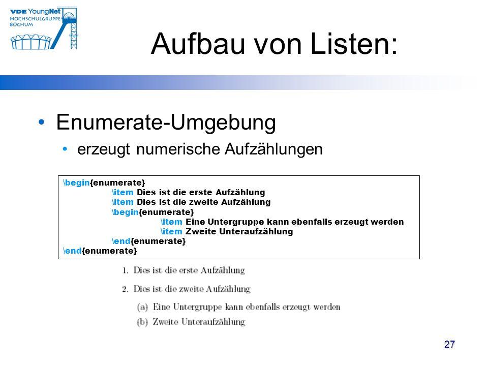 Aufbau von Listen: Enumerate-Umgebung erzeugt numerische Aufzählungen