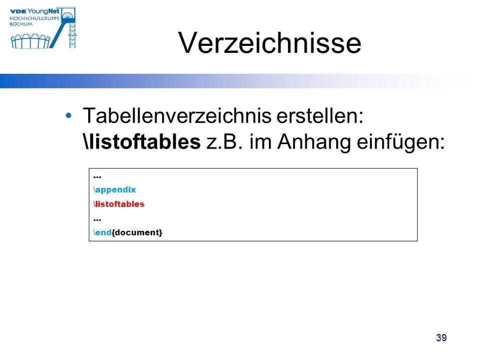 Verzeichnisse Tabellenverzeichnis erstellen: \listoftables z.B. im Anhang einfügen: … \appendix. \listoftables.