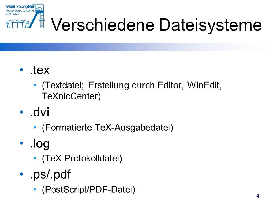 Verschiedene Dateisysteme