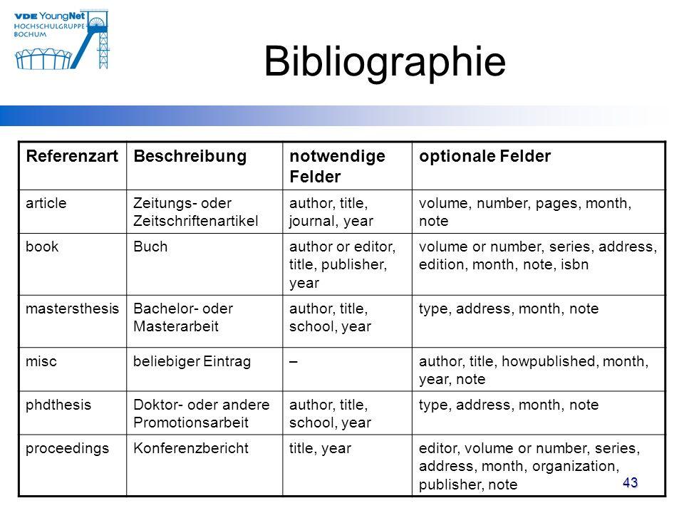 Bibliographie Referenzart Beschreibung notwendige Felder
