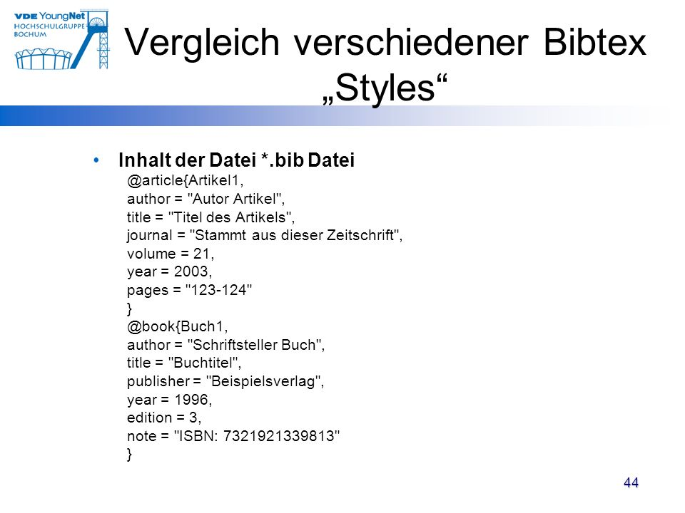 """Vergleich verschiedener Bibtex """"Styles"""