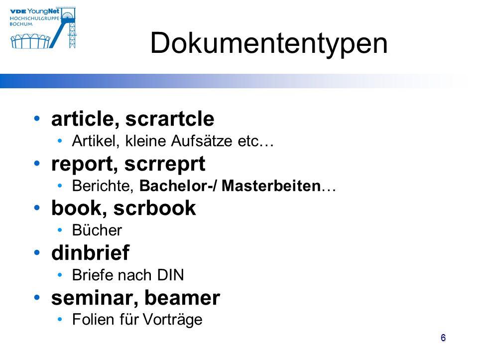 Dokumententypen article, scrartcle report, scrreprt book, scrbook