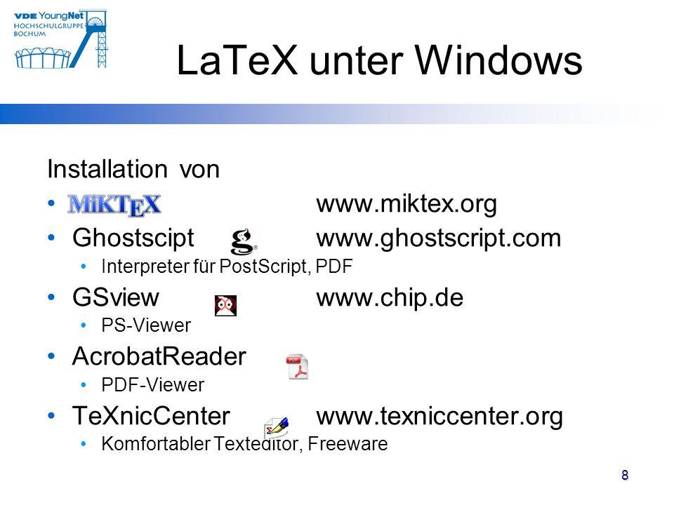 LaTeX unter Windows Installation von www.miktex.org