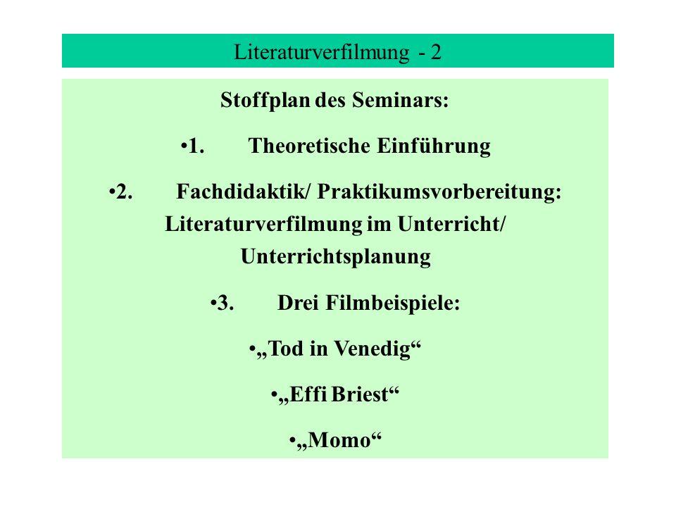 Stoffplan des Seminars: 1. Theoretische Einführung