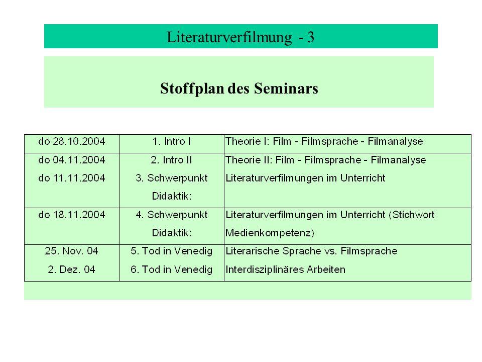 Stoffplan des Seminars