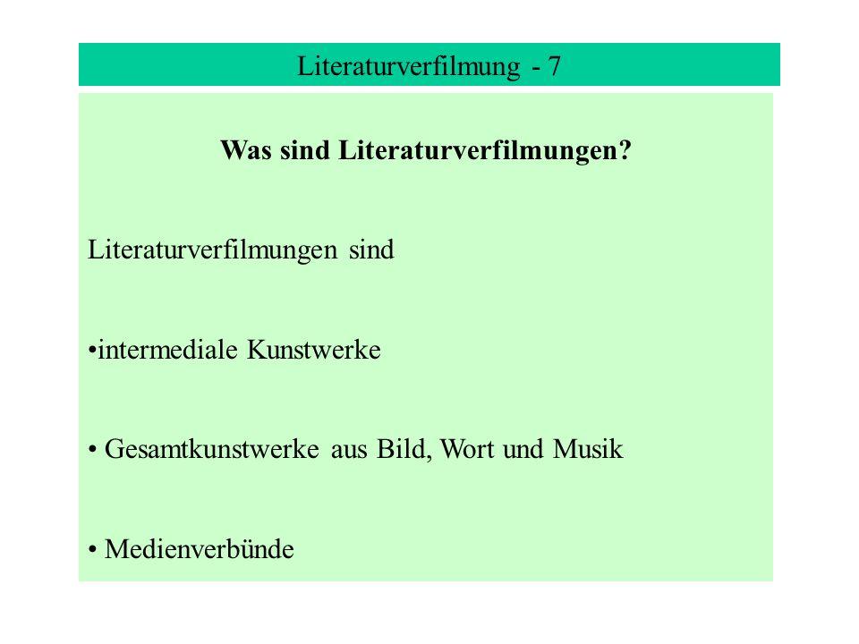 Was sind Literaturverfilmungen
