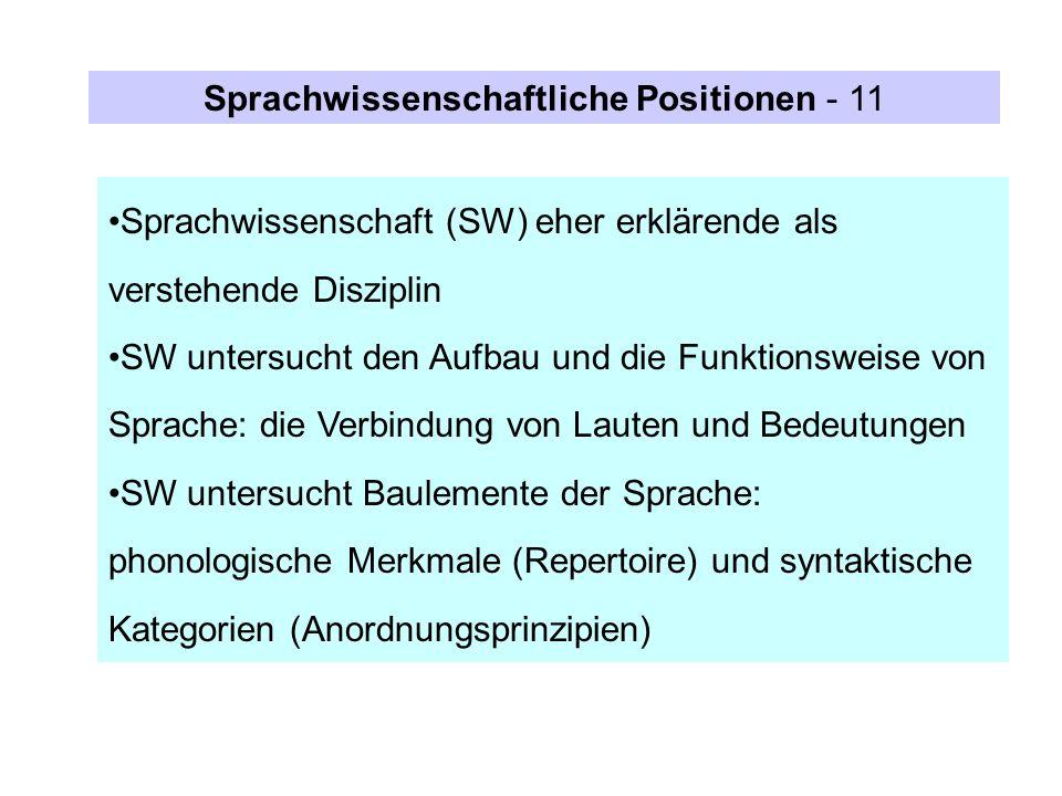 Sprachwissenschaftliche Positionen - 11