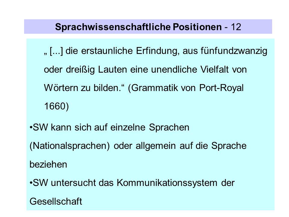 Sprachwissenschaftliche Positionen - 12