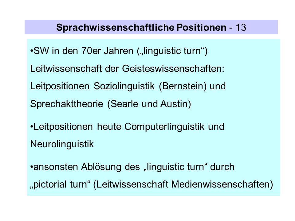 Sprachwissenschaftliche Positionen - 13