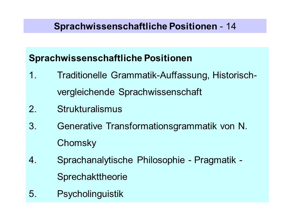Sprachwissenschaftliche Positionen - 14