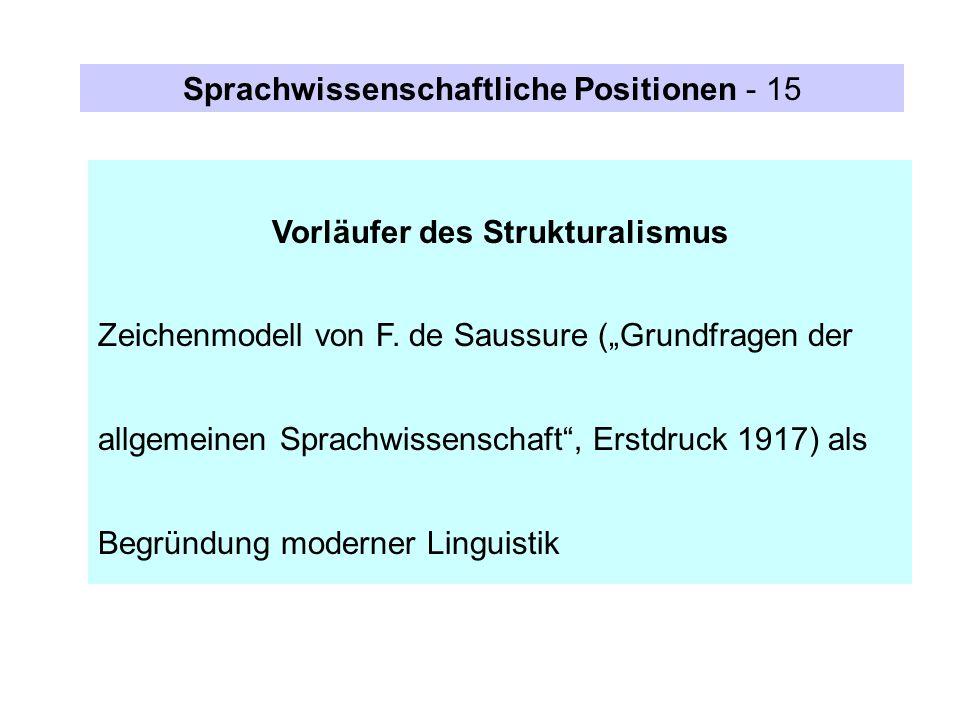 Sprachwissenschaftliche Positionen - 15