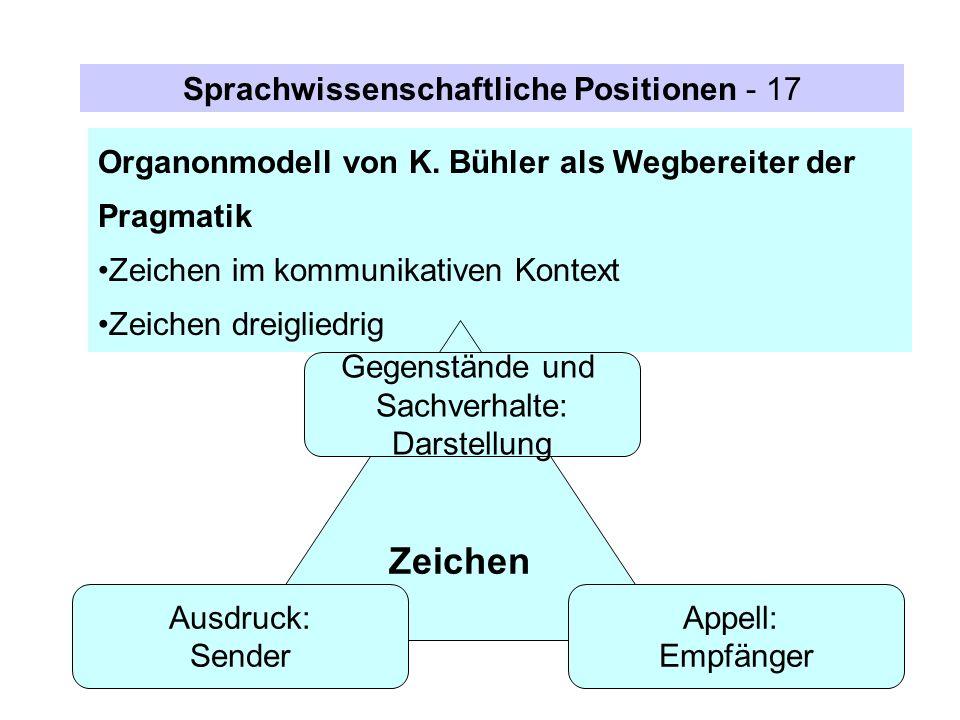 Zeichen Sprachwissenschaftliche Positionen - 17