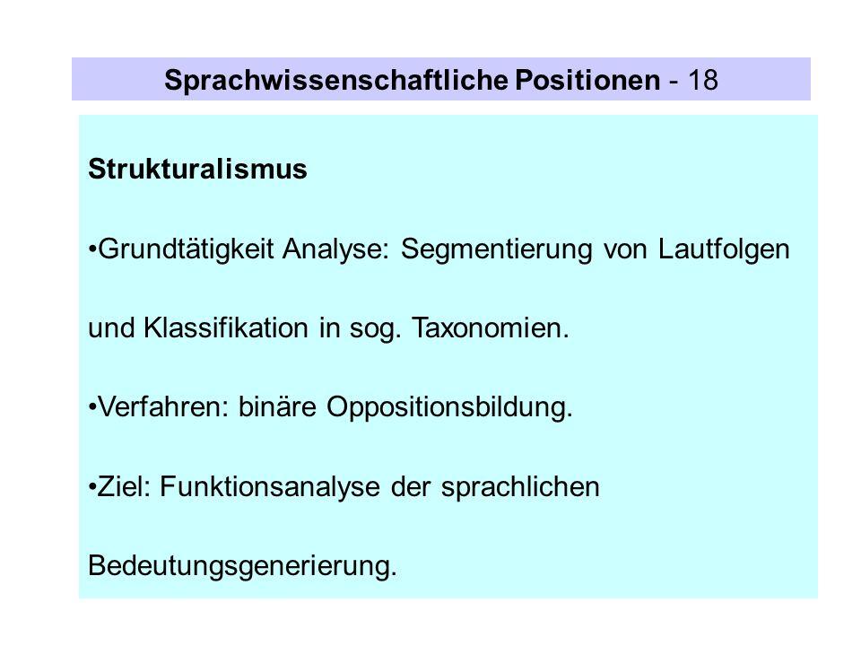 Sprachwissenschaftliche Positionen - 18