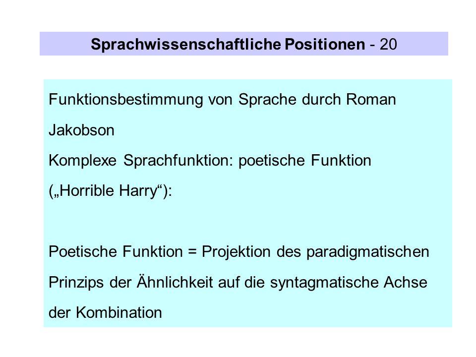 Sprachwissenschaftliche Positionen - 20