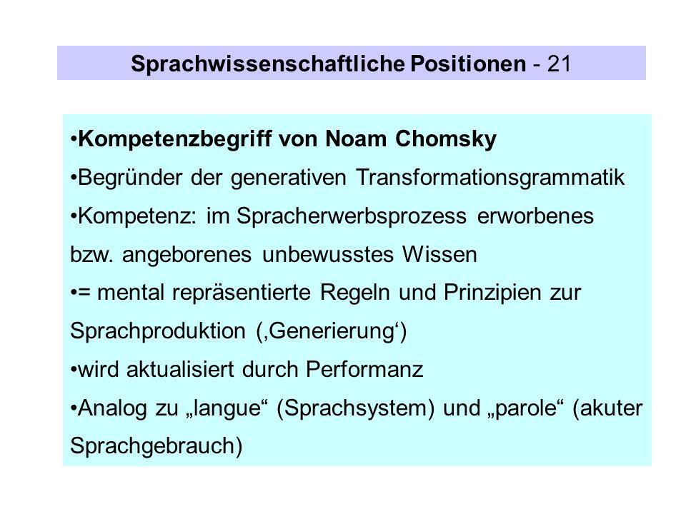 Sprachwissenschaftliche Positionen - 21