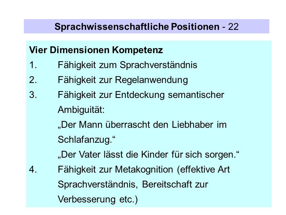 Sprachwissenschaftliche Positionen - 22