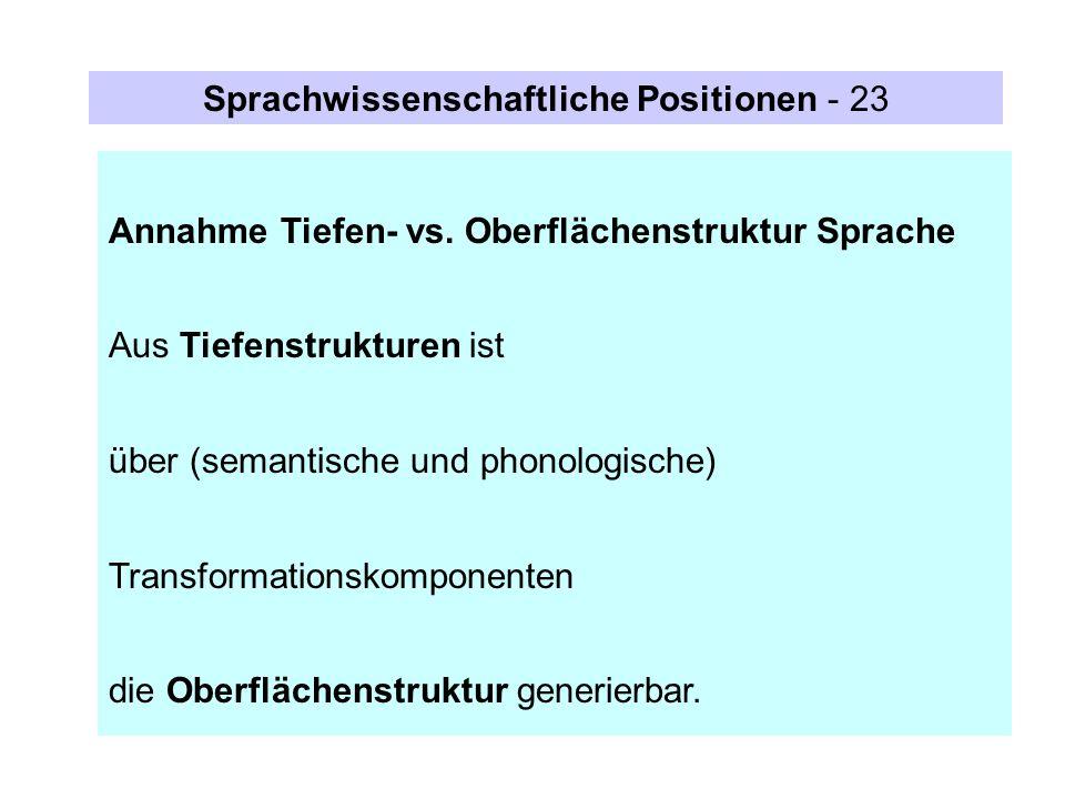 Sprachwissenschaftliche Positionen - 23