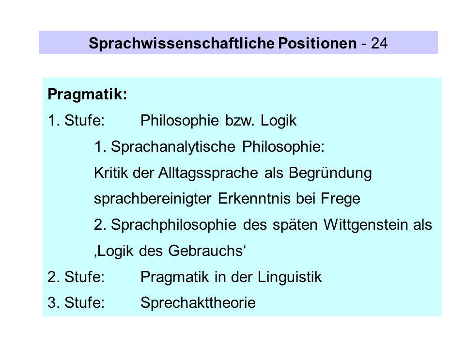 Sprachwissenschaftliche Positionen - 24