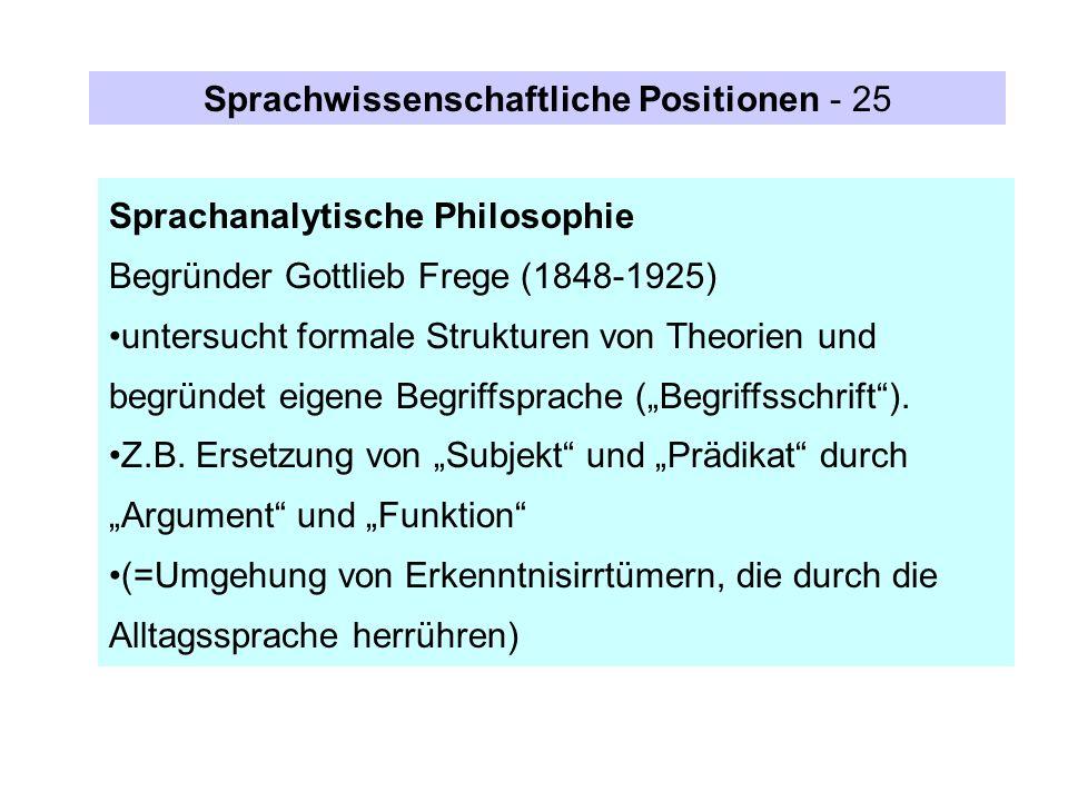 Sprachwissenschaftliche Positionen - 25
