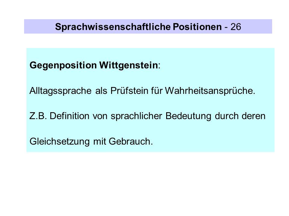 Sprachwissenschaftliche Positionen - 26