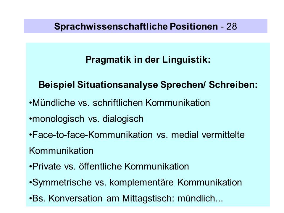 Sprachwissenschaftliche Positionen - 28