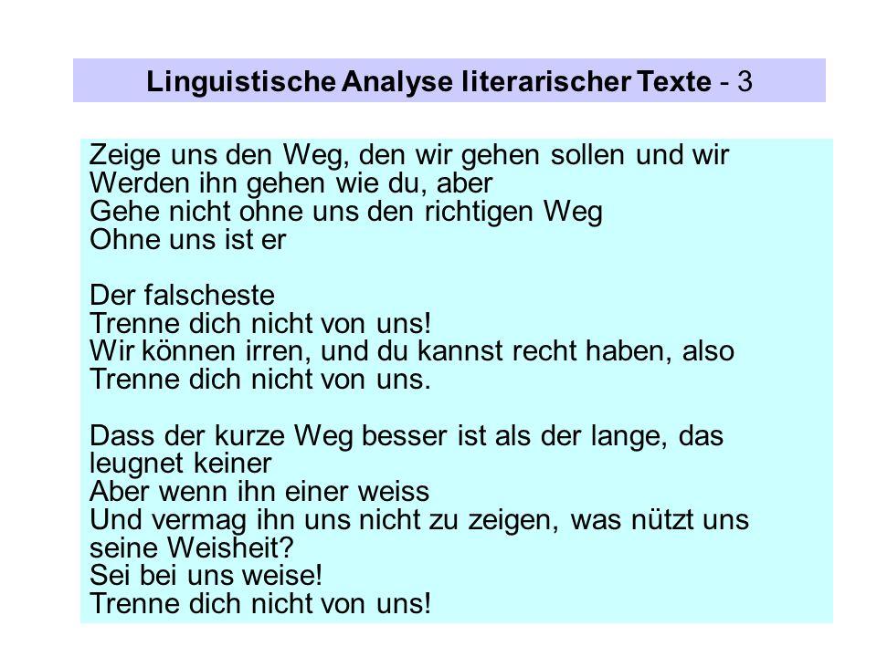 Linguistische Analyse literarischer Texte - 3