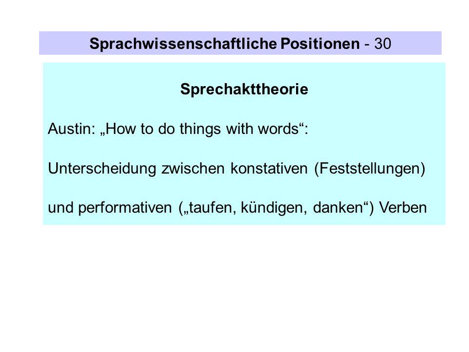 Sprachwissenschaftliche Positionen - 30
