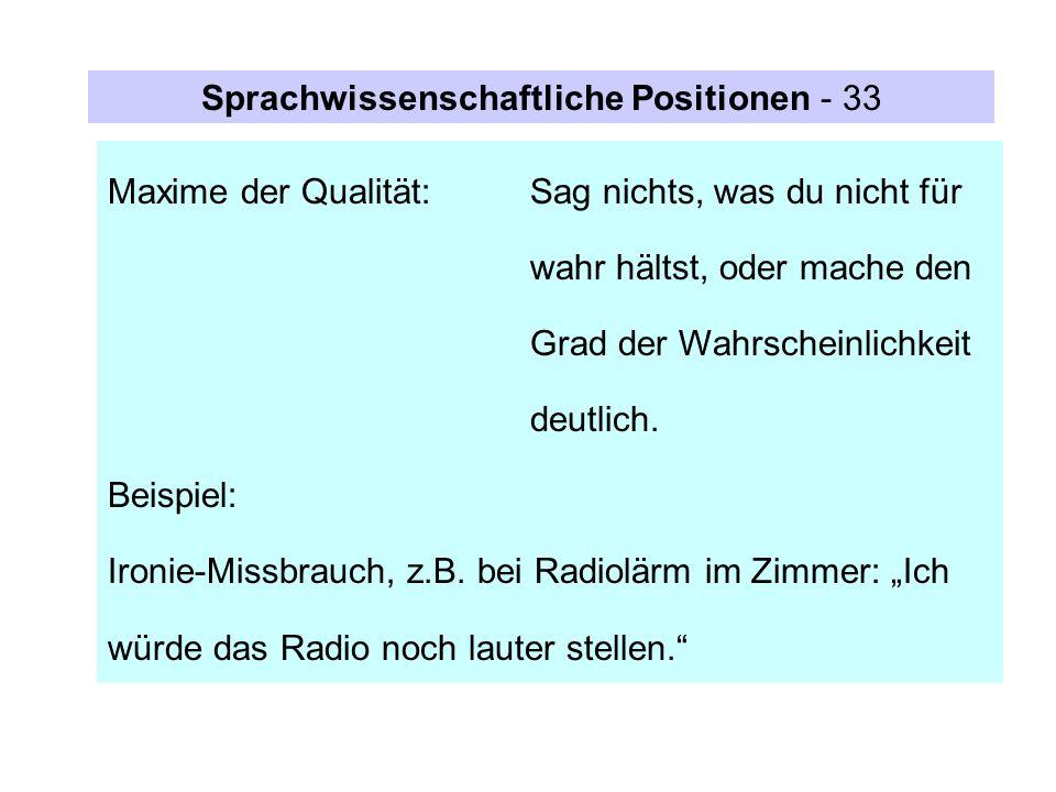 Sprachwissenschaftliche Positionen - 33