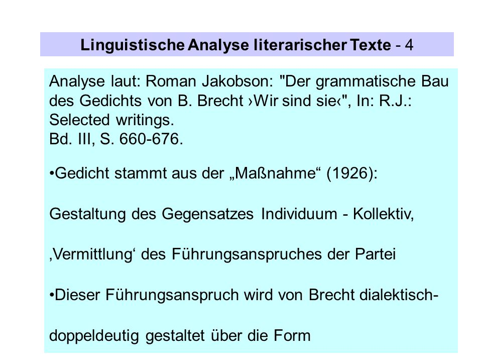 Linguistische Analyse literarischer Texte - 4