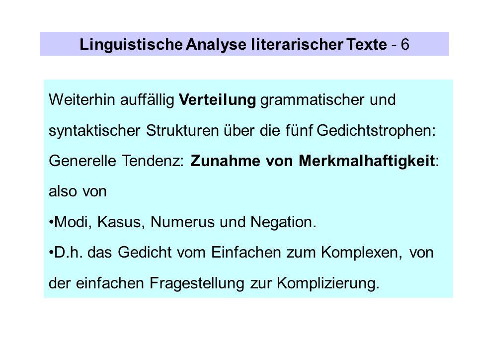 Linguistische Analyse literarischer Texte - 6