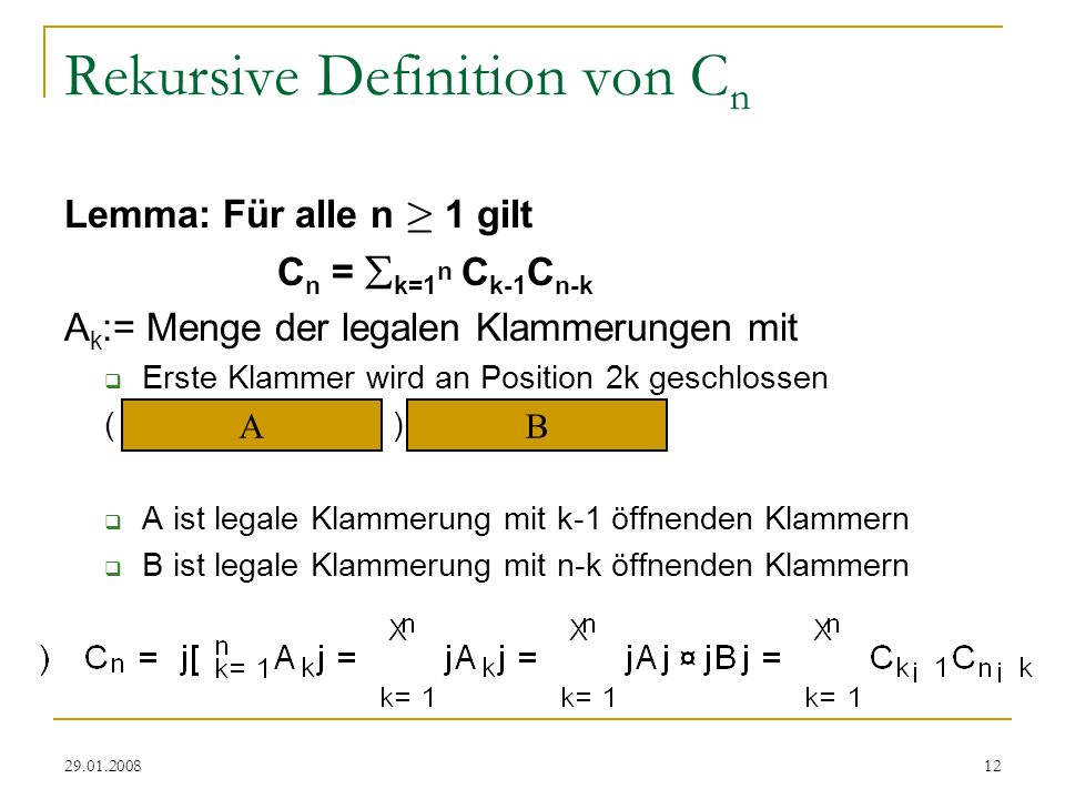 Rekursive Definition von Cn