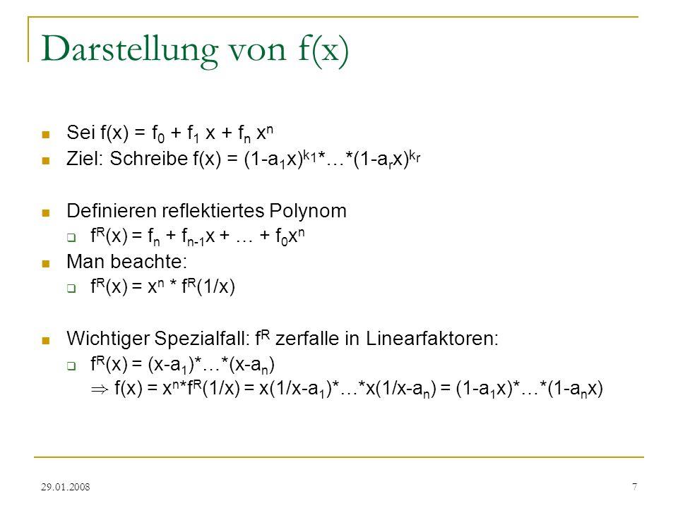 Darstellung von f(x) Sei f(x) = f0 + f1 x + fn xn