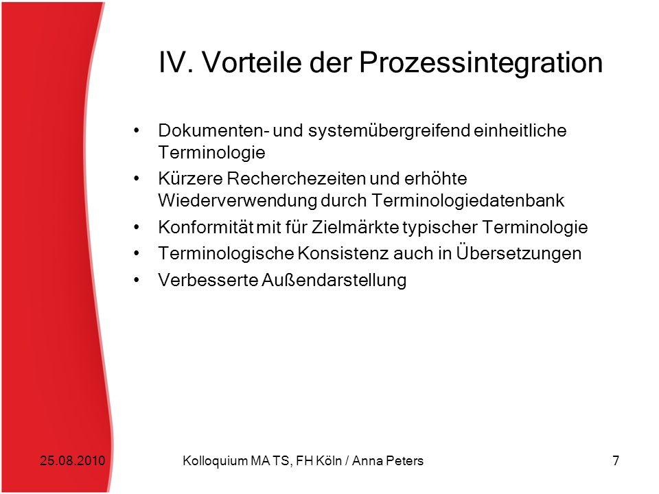 IV. Vorteile der Prozessintegration