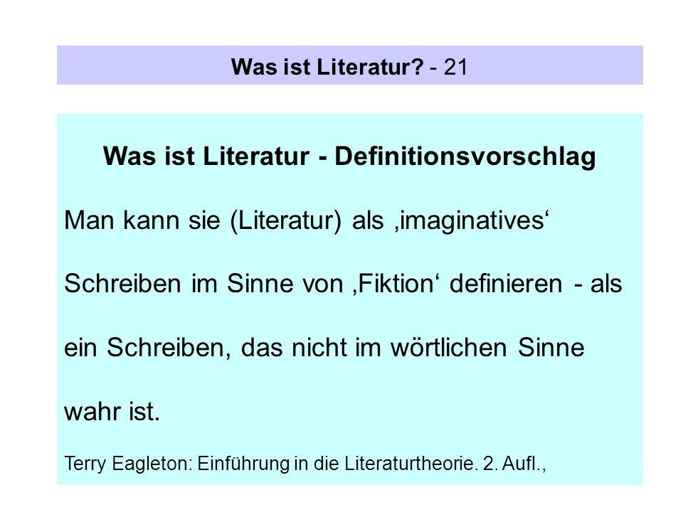 Was ist Literatur - Definitionsvorschlag