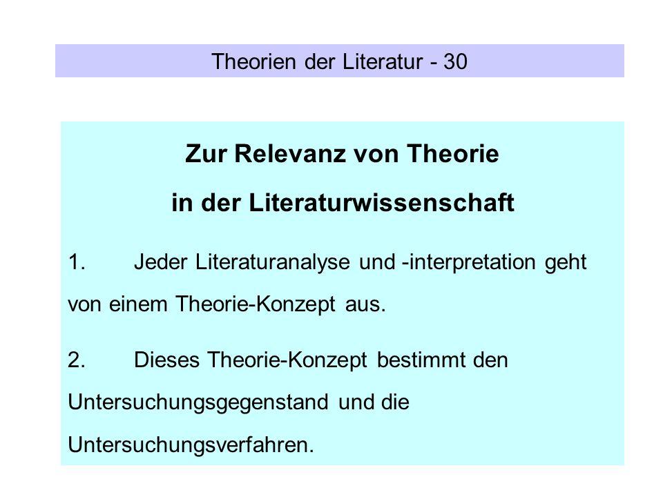 Zur Relevanz von Theorie in der Literaturwissenschaft