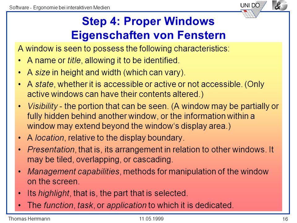 Step 4: Proper Windows Eigenschaften von Fenstern