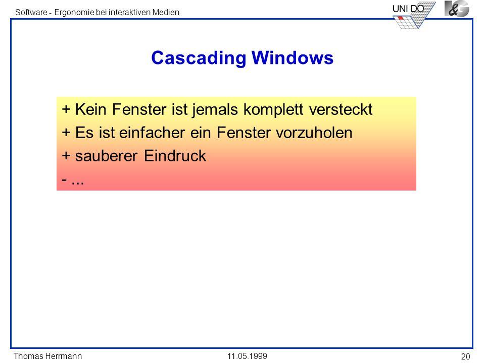Cascading Windows + Kein Fenster ist jemals komplett versteckt