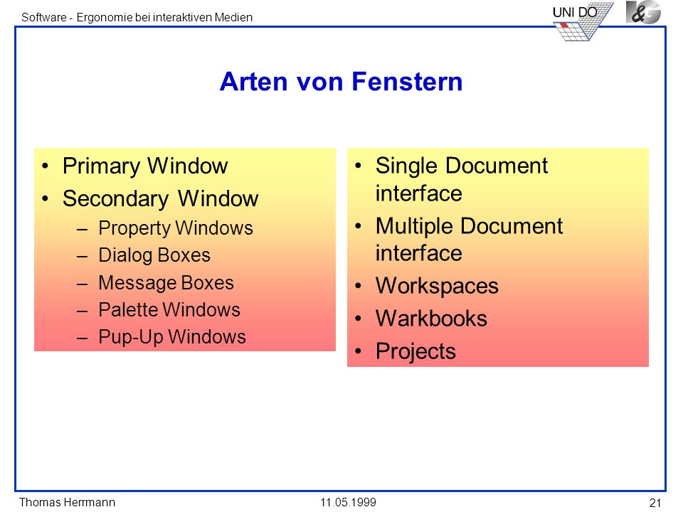 Arten von Fenstern Primary Window Single Document interface